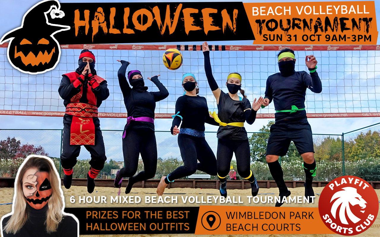 Halloween beach volleyball tournament`